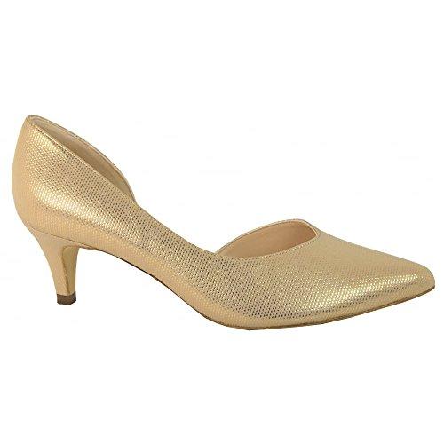 55773 Caete Peter Kaiser Low Heel Court Shoe GOLD2