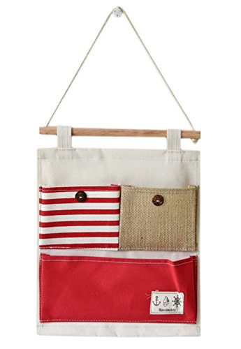 Over the Door Organizer Wall Closet Hanging Storage Bag Multilayer Linen Fabric Pouch Debris (Red,9.8x12.5In) (Red Hanging)