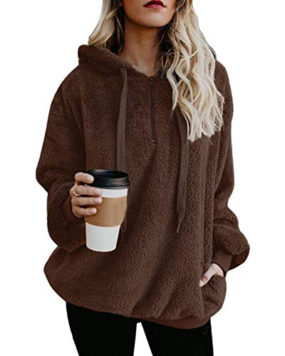 Moxeay Womens Loose Long Sleeve Hooded Sherpa Fleece Sweatshirt with Pockets (XXL, Brown) ()