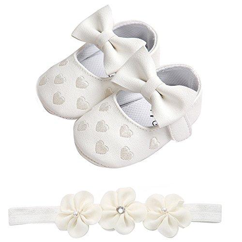 Niñas Bowknotdiadema Para Bebe Bautismo Encaje Y De Blanco Brillante Recién Zapatos Nacido Bbsmile PgOncyqUUS