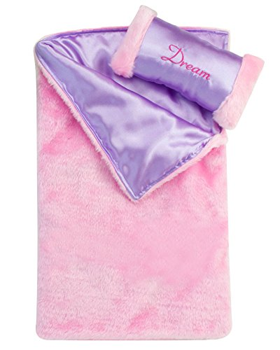 (Doll Bedding 2 Pc. Set Made by Sophia's Pink Satin Doll Bedding Set. Fits 18 Inch American Girl Dolls)