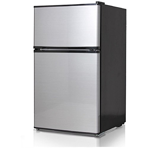 Automatic Stainless Steel Freezer - Midea WHD-113FSS1 Compact Reversible Double Door Refrigerator and Freezer, 3.1 Cubic Feet, Stainless Steel