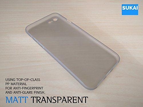 iPhone 7 Case, [ SUKAI ] Slim / Ultra-Thin (0.35mm) PP (Semi-transparent) Thinnest Hard Protect Case Back Cover Bumper Lightweight for iPhone 7. [Grey] by SUKAI (Image #4)
