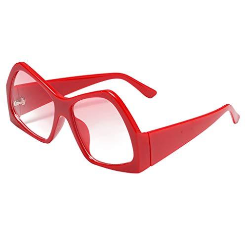 GREFER Unisex Square Thick Frame Vintage Sunglasses Eyewear UV Protection for Men Women G0430 (Red)