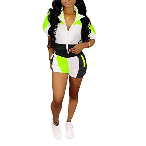 Womens Workout Outfits 2 Piece - Short Sleeve Color Block Zipper Windbreaker Jacket Shorts Tracksuit Set Plus Size Black 3X-Large (Short Rompers For Women Plus Size)