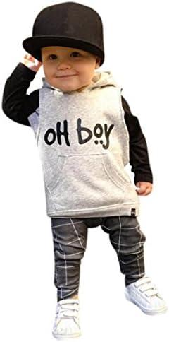 kshion Infant Baby Girl Boy ropa Set Fashion con capucha Tops + Pants Trajes