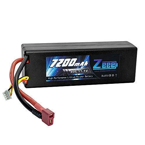 Zeee 7200mAh 3S 11.1V 80C Hard case LiPo Battery Pack with Deans Connector for 1/8 1/10 RC Car Trunk Losi Traxxas Slash Buggy Team Associated