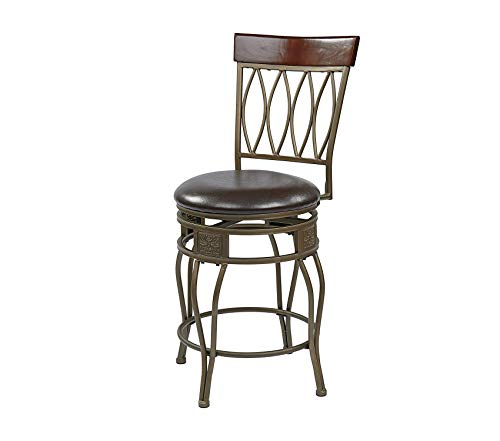 Оfficе Stаr Antique Grey Ash Steel 4-Open Frame and Wood Swivel Barstool with Espresso Faux Leather Seat, 24-Inch