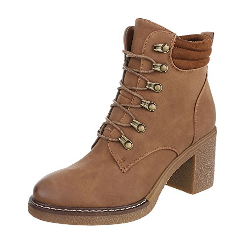 at Boots Boots Block Ankle Lace Camel Design Women's Ital Up Heel 0YTF77q