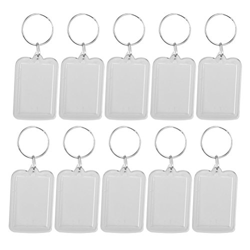 ULTNICE 10pcs Photo Picture Frame Keychain Acrylic Blank Keyring in Rectangle 5x3.3cm