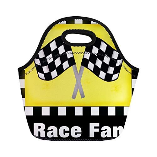 Ablitt Lunch Bags Yellow Waving Motor Racing Black White Flag Custom Checked neoprene lunch bag lunchbox tote bag portable picnic bag cooler bag