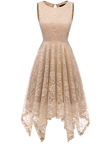 DRESSTELLS Women's Cocktail Floral Lace Handkerchief Hem Bridesmaid Wedding Gown Champagne L -