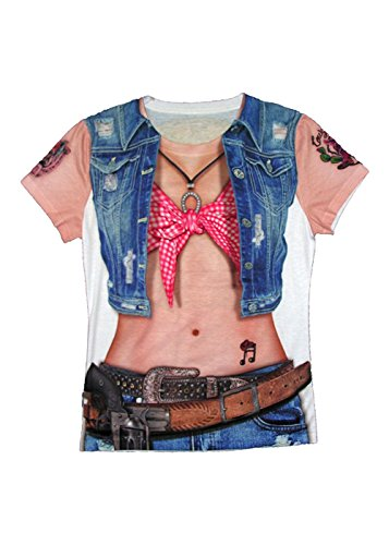 Forum Novelties 77532 Cowgirl Sublimation Shirt, Adult Large, One Size, Multicolor, Pack of 1 ()