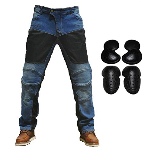 2019 Men Motorcycle Riding Jeans Armor Racing Cycling Pants with Upgrade Knee Hip Protector Pads (Blue, L=32)