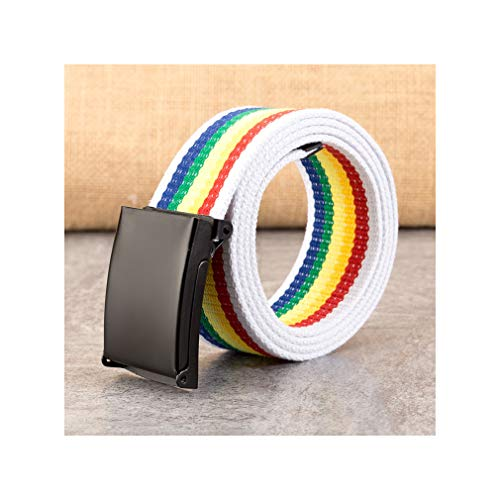 100-160cm Plus Size Brand Canvas Belt Men Women Smooth Buckle Automatic Buckle Belt ()
