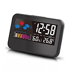 CIGERA 6.5 Inch Digital Weather Station Alarm Clock with Smart Backlight,Weather Forcast, Indoor Temperature and Calendar, Powered by Battery and USB Cord, Black