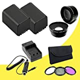 TWO BP-819 Lithium Ion Replacement Battery w/External Rapid Charger + 37mm 3 Piece Filter Kit + 37mm Wide Angle Lens + 37mm 2x Telephoto Lens for Canon Vixia HFM30 HFM31 HFM300 HF10 HF100 HF11 HF20 HF200 HG20 HG21 Digital Camcorders DavisMAX BP819 Accessory Bundle