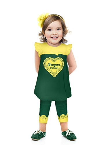 Cheekie Peach NCAA Oregon Ducks Girls Infant Ruffle Set, 3-6 Months, -