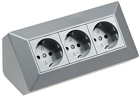 3-fach Aufbausteckdose für Küche Arbeitsplatte Ecke silber ~  Steckdosenleiste AP