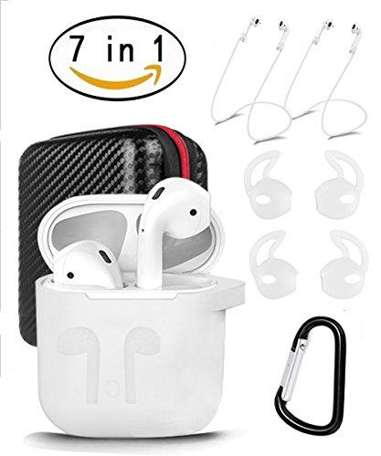 AirPods Case 7 In 1 Airpods Accessories Kits Protective Silicone Cover and Skin for Apple Airpods Charging Case with Airpods Ear Hook Airpods Staps/Airpods Clips/Skin/Tips/Grips by Amasing (White Clip Style Headphones)