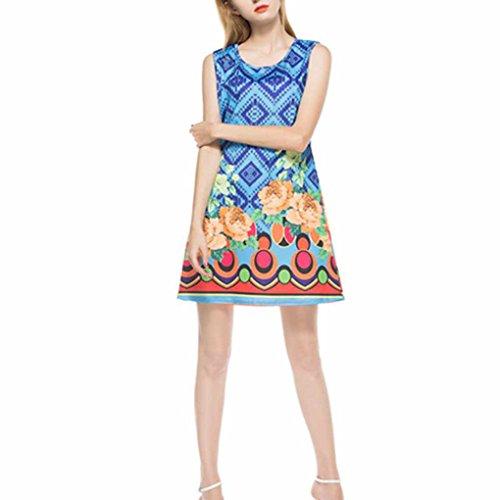 QHGstore Mujeres Niñas de impresión de flores sin mangas de verano delgado vestido de cuello redondo corto azul