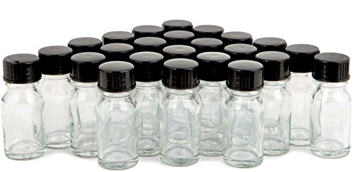 Vivaplex, 24, Clear, 10 ml (1/3 oz) Glass Bottles, with Lids ()