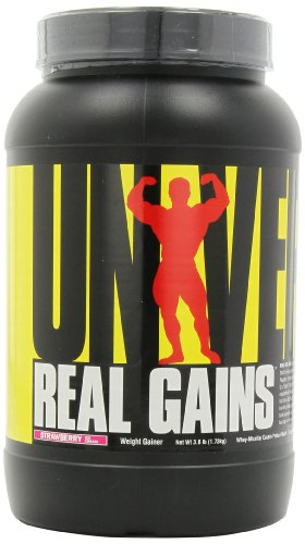 Real Gains Weight Gainer with Complex Carbs and Whey-Micellar Casein Protein Matrix Strawberry 3.8#