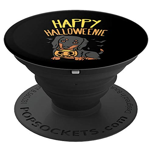 Happy Halloweenie Dachshund Dog Halloween Gift Wiener - PopSockets Grip and Stand for Phones and Tablets ()
