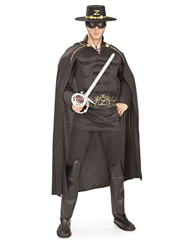 Rubie's Men's Deluxe Muscle Chest Zorro Costume, Black, One Size ()