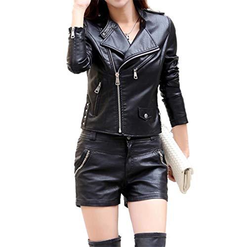 Longues Manteaux Qixuan Cuir Manteaux Faux Femmes Noir Manches Casual Zipper Longues Manches 8qv8w4A