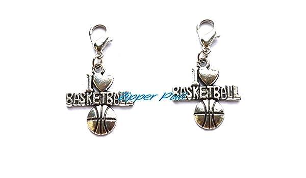 I Love baloncesto tirador de cremallera, tapón antipolvo, correa o ...