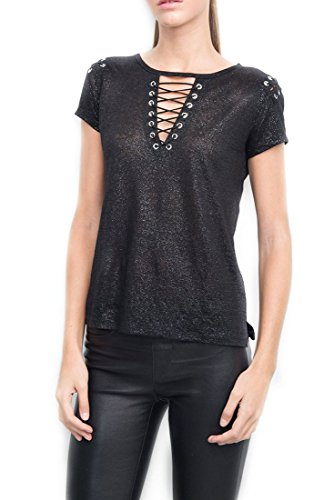Generation Love Women's T-Shirt Hugo Lace Up Tee - Black Silver - M by Generation Love