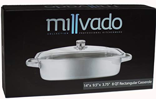 (Millvado Stainless Steel Rectangular Casserole | Tempered Glass Lid with Steam Vent, Mirror Finish, Works with Induction Cooktops, Dishwasher Safe, 8 Quart- 14 Inches X 9.5 Inches)