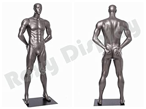 MC-JSM03 Standing Pose with arms by Sides.Dumbbell Exercises Pose. ROXYDISPLAY/™ Eye catching Male Mannequin,Athletic Style.Muscular Body