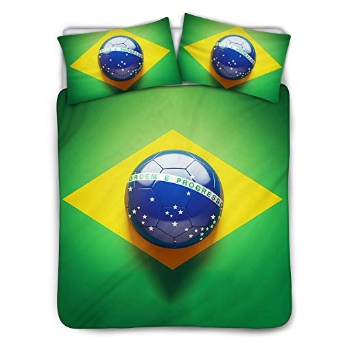 JoyLamoria Queen Size Duvet Quilt Cover Set Brazil Flag Soccer Design 3 Piece Bedding P with Pillowcases Super Soft Polyester Organic Cottonc- Black Lining
