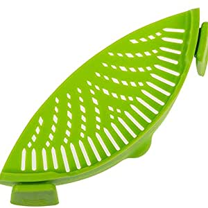 """FSDUALWIN Kitchen Pan Strainer SNAP'N Strain, Clip-on Silicone Strainer Colander Fits All Size Pots(9"""" * 3.2""""), Pans, Bowls - Strain for Pasta, Noodles, Vegetables, Potatoes(1 Pack)-Green"""