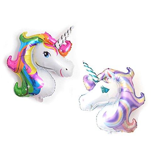 Provone 2 Pack Rainbow Unicorn Shape Mylar/Foil Balloon Baby Shower Party Supplies Room Decor Purple and Random
