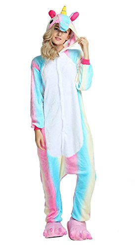 AooToo Womens Unisex Cosplay Flannel Halloween Animal Costume Pajamas(CH, S)