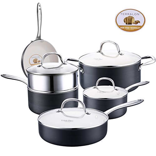 Lovepan Onions Pots and Pans Set, White Ceramic Coating Nonstick Hard-Anodized Aluminum Scratch Resistant PTFE, PFOA Free Cookware Set With glass lids, Sauce Pan with Steamer, 5-PCS Black