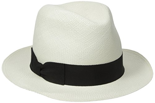 Hat Attack Women's The Original Panama Hat with Classic Bow Ribbon Trim, Bleach/Black, One Size