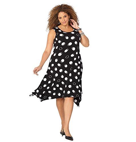AVENUE Women's Double Dot Sharkbite Dress, 22/24 Black White