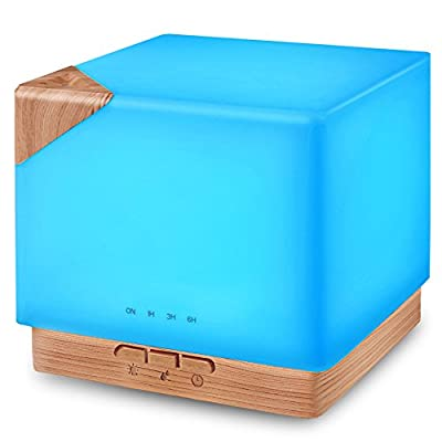 Square Aromatherapy Essential Oil Diffuser Humidifier, 700ml Large Capacity Modern Ultrasonic Aroma Diffusers Running 20+ Hours 7 Color Changing for Home Office Bedroom Living Room Study Yoga Spa