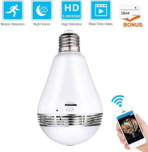 WiFi Bulb Security Camera – Bonus 16GB Micro SD Card – Wireless Camera Night Vision Fisheye LED Light 360° Panoramic Remote View, Motion Detection for Home Baby Pet Monitor 2.4GHz