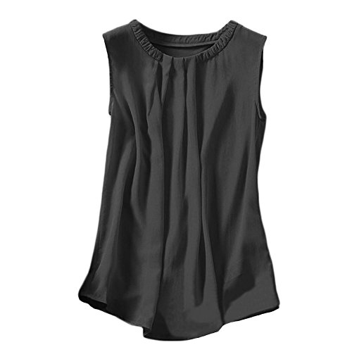 WZRT Ladies Personality Pleat Collar Sleeveless T-Shirt XXXX-L Black