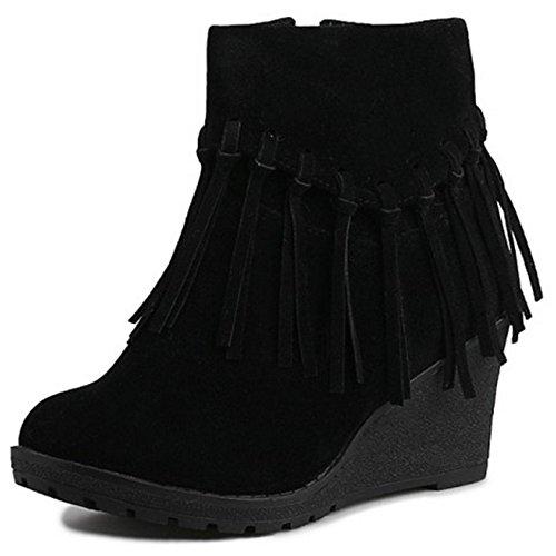 Stivaletti Zeppa Black TAOFFEN Autunno Stivali Donna Classic Zipper vCqn47wn