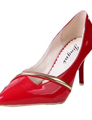 Cn39 rojo Red Uk4 Blanco De pu Mujer Eu39 Cn36 tac¨®n Zapatos us8 tacones Stiletto White tacones casual Zq us6 Uk6 Eu36 ZfPqSzHwfv
