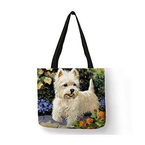 Unique Design Westie Dog Painting Handbag for Women Shopping Travel Bags Large Capacity Eco Linen Tote Bag,009