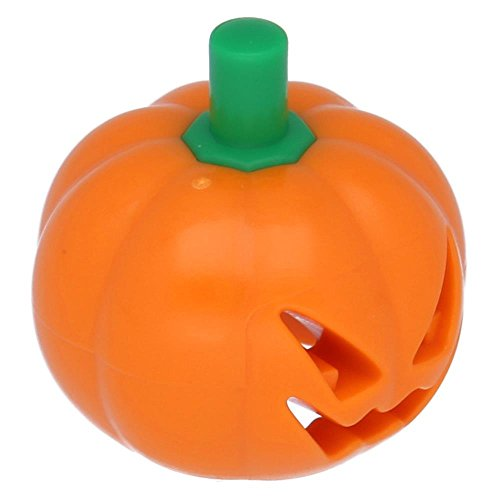 LEGO Parts: Halloween Pumpkin with Green Stem Jack O' Lantern Headgear Minifigure Accessory x1 Loose