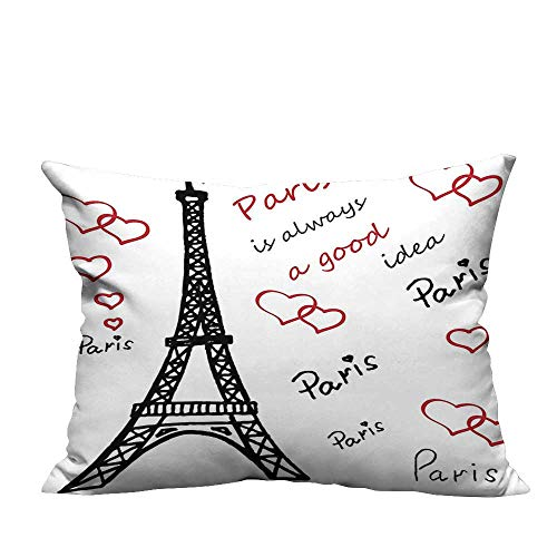YouXianHome Throw Pillow Cover for Sofa Eiffel Tower Paris is Always A Good Idea Tourism Locations Sweet Love Textile Crafts (Double-Sided Printing) 12x16 inch