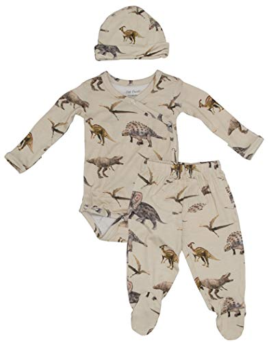 (Baby Three Piece Kimono Set - Infant Bodysuit with Matching Beanie (Vintage Dino))
